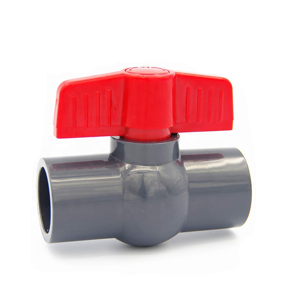 SHMONO 1/2'' Inline PVC Ball Valve, Compact T-Handle Water Shut-Off Valves, Socket Valve for Irrigation and Water Treatment, 1/2'' Slip [Available 3/4'',1'',1.25'',1.5'',2'']