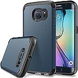 S6 Edge Case, Galaxy S6 Edge Defender case, SGM (TM) Premium Hybrid Dual Layer Armor Case For Samsung Galaxy S6 Edge [Shock Proof] (Dark Blue + Black)
