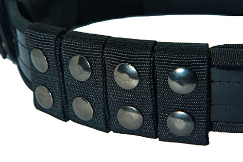 4 tactical ARMY POLICE SECURITY GUARD BLACK NYLON DUTY BELT KEEPERS SNAPS FIT BELTS 2 INCH