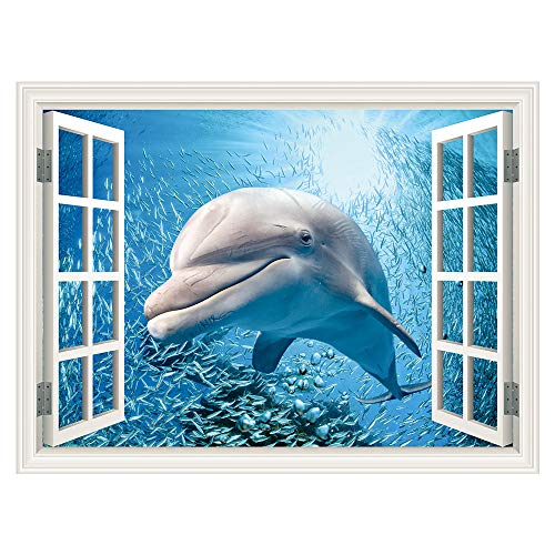 SUMGAR Self Adhesive Wall Murals Window Dolphin with Shoal of Fishes Outside Seascape Wall Art Decals for Windoless Bedroom,48x36 inch
