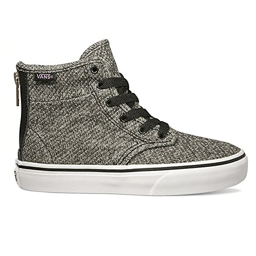 Vans Kids Camden 'Hi-Zip' Lace-up High Top Sneakers with Back Zipper (11 US, Black Tweed)
