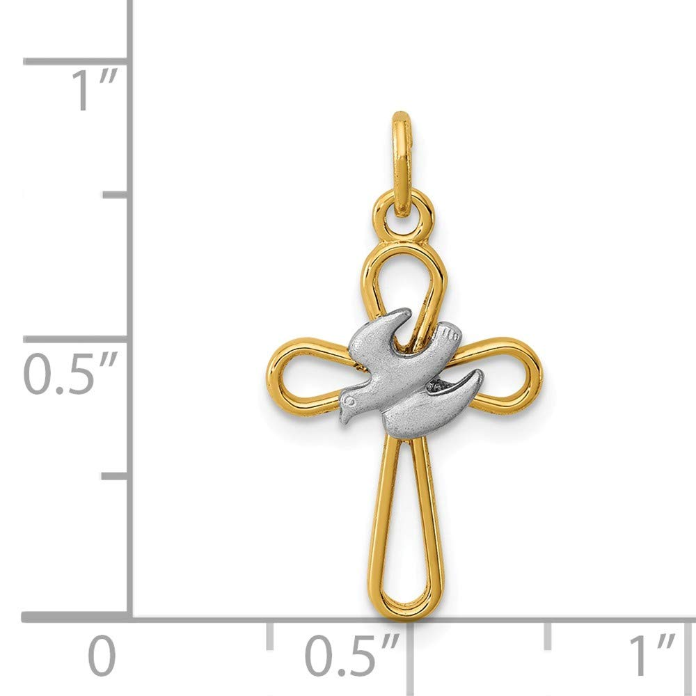 Sonia Jewels Sterling Silver /& 18k Gold-Toned Cross with Dove Pendant Charm 13mm x 20mm