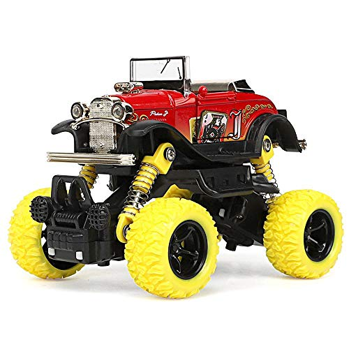 Lesgos Double Pull Back Monster Trucks Toy, Die-Cast Play Vehicles Alloy with Big 4WD Wheels Buggy Functions, SUV Car Model Simulation Graffiti Collectable Off-Road Car Gift for Kids 1:32 ()