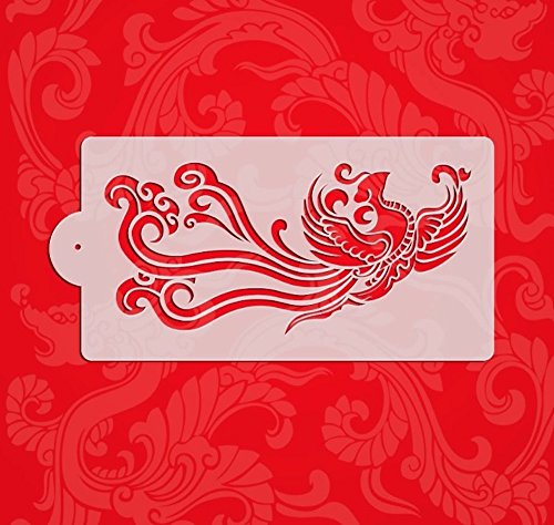 Stencils Set for Painting - Laser Cutting Floor Wall Tile Fabric Wood Cake Decorating Reusable Drawing DIY Stencils -Dragon and Phoenix Designs Scale Template (3 pcs) by ZOMCHAIN (Image #2)
