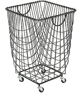 deco 79 metal roll hamper storage basket