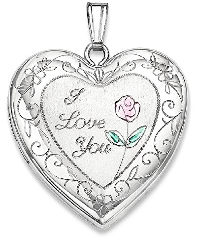 ICE CARATS 925 Sterling Silver 24mm Enameled Rose Border Heart Photo Pendant Charm Locket Chain Necklace That Holds Pictures Fine Jewelry Gift Set For Women (Enameled Locket)
