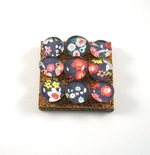 Push Pins for Memo Board in Blue Floral P17