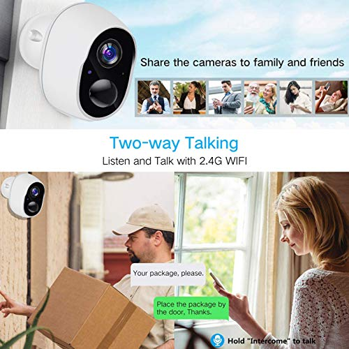 WiFi Rechargeable Battery Powered Wireless Camera,HONEST KIN 1080P Home Security Camera Outdoor,PIR Alarms,Night Vision,2-Way Audio,Waterproof,Low Power Consumption,Super Push App, Cloud Storage