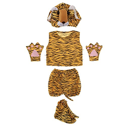 Homyl 5pcs 3D Animal Hat Top Shorts with Tail Set Child Fancy Dress Costume Accessories Boy Girl Book Week Cosplay Party Play Outfit - Tiger by Homyl