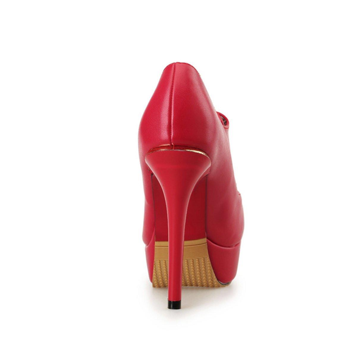 Frauen High Heels Wasserdichte Plattform Runde ROT Kopf Lederschuhe (12cm) ROT Runde 2ade41