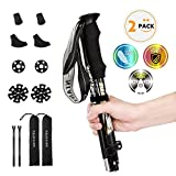 Trekking Poles for Hiking Poles Collapsible Lightweight - 2 Pack Adjustable Walking Hiking Sticks collapsible, Walking Trekking Trail Poles Aluminum Ski Poles with EVA Foam Handle for Women Men Backpa