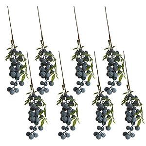 MonkeyJack 8 Pieces Artificial Lifelike Plant Fruit Berries Branches Stem Wedding Venue Bouquet Decor Crafts Blueberry 90