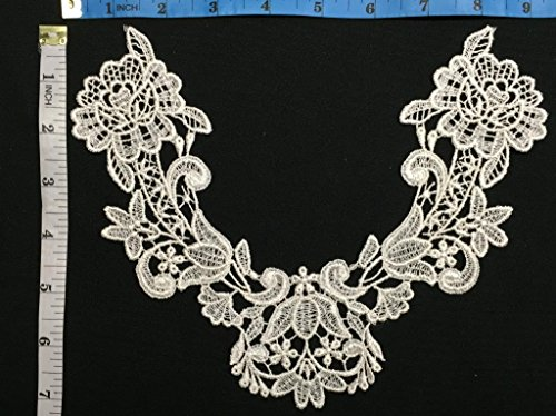 Applique Lace Piece Embroidery Venise Yoke Neckpiece, 7