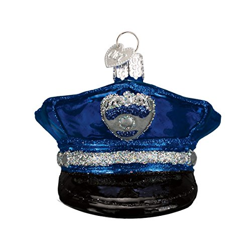 Old World Christmas Ornaments: Police Officer's Cap Glass Blown Ornaments for Christmas Tree