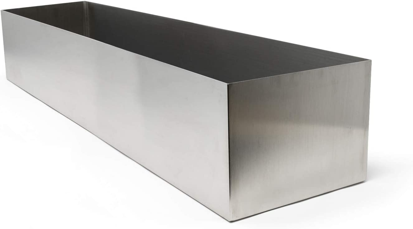 """Buhbo Modern Trough Rectangle Planter Large 32 inch (8""""x 6"""") Brushed Stainless Steel"""