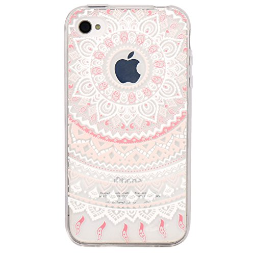 iPhone 4 Case, JAHOLAN Flower Clear Edge TPU Soft Case Rubber Silicone Skin Cover for iphone 4 4s - Pink White Tribal - Case Rubber Skin