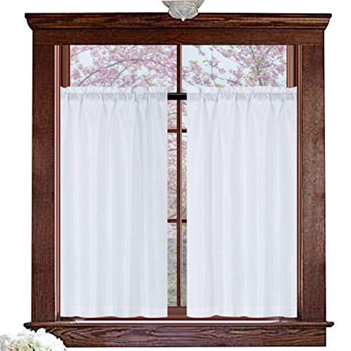 (Valea Home Water Repellent Tailored Tier Pair Curtains, Waffle Weave Textured Short Curtains for Bathroom, 72