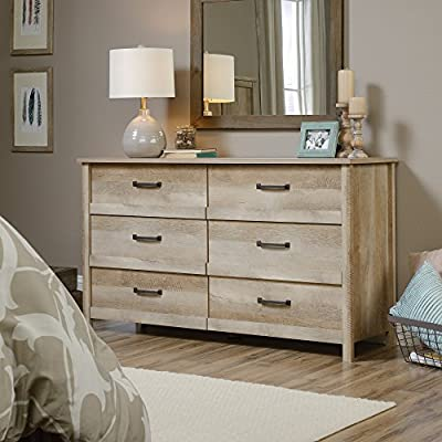 Sauder Cannery Bridge 6-Drawer Dresser, Lintel Oak finish - Drawers with metal runners and safety stops feature patented T-lock assembly system for easy assembly Lintel Oak finish Engineered wood construction - dressers-bedroom-furniture, bedroom-furniture, bedroom - 510ic2BaixL. SS400  -