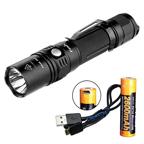 Fenix PD35TAC (PD35 Tactical) 1000 Lumens XP-L LED Flashlight, Genuine Fenix 2600mAh 18650 USB Rechargeable Battery, & LumenTac