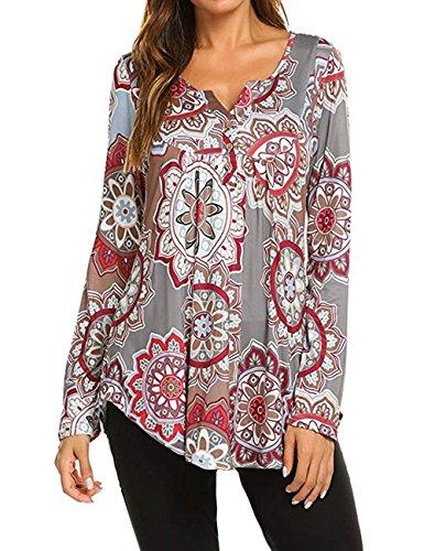 for Women,Ladies Fall V Neck Flower Print Long Sleeve Henley Blouse Shirt Grey, XL ()