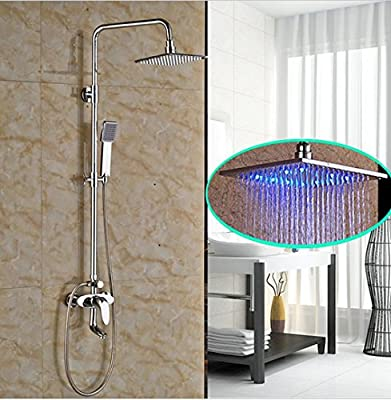 "GOWE Brass Chrome One Handle Shower Set Faucet Bathroom Exposed Shower Mixer Taps 8"" LED Light Rain Showerhead"
