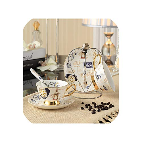 Bone China Tea Cup Saucer Spoon Set 200ml Advanced Porcelain Coffee Cup Cafe Ceramic Afternoon Teacup,2Cups n Holder