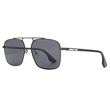 9b56a948d62 McQ by Alexander McQueen Square Pilot Sunglasses in Black Ruthenium MQ0094S  001 57  Amazon.co.uk  Clothing