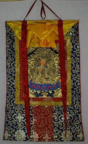 Hand Painted Thanka Thangka, Guru Rinpoche Blue Brocade5