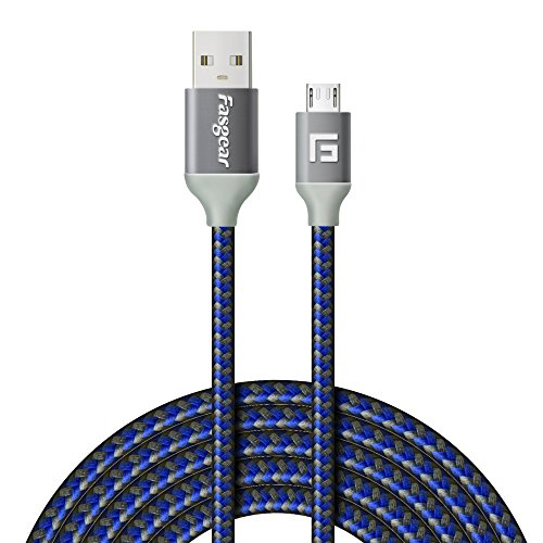Fasgear Micro USB Cable (10ft) to USB 2.0 High Speed Charging Anti-Corrosion Metal Connector Nylon Braided Jacket Compatible with Android Devices, Samsung, Sony, HTC, Motorola and More (Dark Blue)