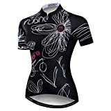 Women Cycling Jersey Short Sleeve Breathable Pockets Flower