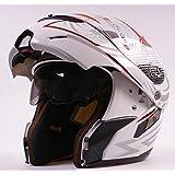 Ama_TrulyStep New Dual / 2 Visors Modular Motorcycle Scooter Vespa Full Open Face Flip Up Integrated Helmet White S M L XL (L 59cm ~ 60cm)