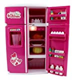 Dream Kitchen Mini Refrigerator Pink Toy Fridge Playset for Dolls...