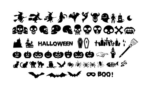 "Woodland Arts 55+ Decals (From 4.5"" to 6"") Silhouette Halloween Spooky Cemetery Skeleton Skull Crow Bats Witch Cats Tomb Wall Decals Window Stickers Decorations for Kids Rooms Nursery Halloween Party"