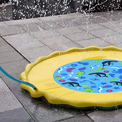 Fealay 59'' Kids Sprinkle and Splash Play Mat Inflatable Summer Water Pad Outdoor Sprinkler padToy Swimming Party for Kids Children Infants Toddlers Boys Girls by Fealay (Image #4)