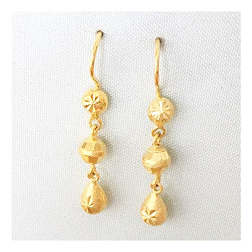 wiuas Wicuas&Associates Sandblasted Raindrop Teardrop Waterdrop Shape Drop Dangle Earrings Long Lasting Durable 5 Microns 24k Yellow Gold Filled Plated Lightweight Thai Women Girls Gift (Yellow Gold Sandblasted)