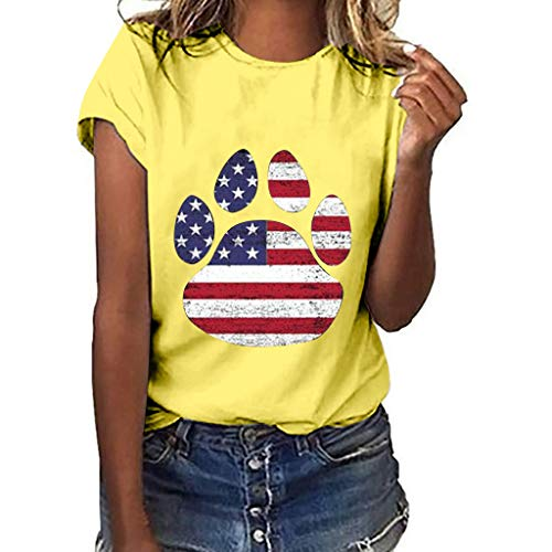 YEZIJIN Women Plus Size Dog Claw Independence Day Print Short Sleeve T-Shirt Blouse Tops 2019 New Sexy T-Shirt Yellow ()