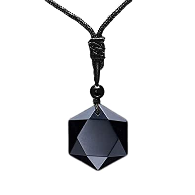 0e7e4f9f12339 MENGLINA Black Obsidian Hexagram Natural Stone Necklace Translucent Ice  Obsidian Wolf Tooth Amulet His and Hers Couples Necklace Lucky Love Pendant  ...