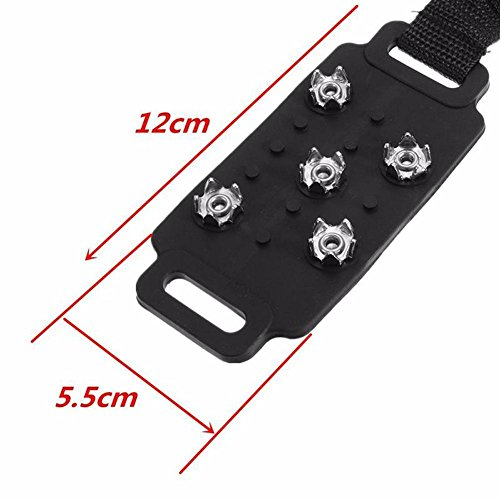 BleuMoo 1 Pair Silicone Winter Anti slip Boots Ice Grips Crampon 5 Grasping Teeth Peak Snow Skating Sharp Ice Outdoor