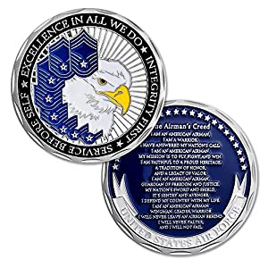 United States Air Force Challenge Coin The Airman's Creed Collectible Military Veteran Gift by bonnie