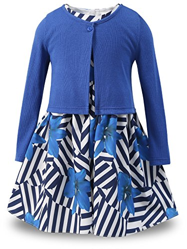 Bonny Billy Big Girls' Clothing Sets Flower Dress and Solid Cardigan 2 PCS Outfits Size 8-9 Flower Blue -