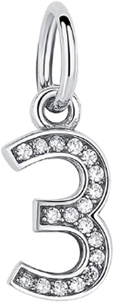 CC-JJ 925 Sterling Silver Number 3 Charm Beads Clear