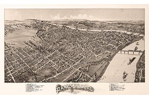(Parkersburg, West Virginia. Antique Birdseye Map; 1899)