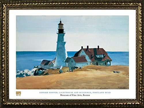 FRAMED Lighthouse And Buildings, Portland Head by Edward Hopper 24x32 Art Print Poster Famous Painting Coastal Landscape From Museum of Fine Arts Boston (Antique Four Poster)