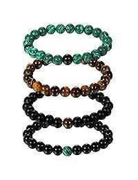 "Aroncent 4Pcs 8mm Mala Beads Bracelet for Womens Agate Tiger Eye Malachite 6.1""(15.5cm) Elastic"