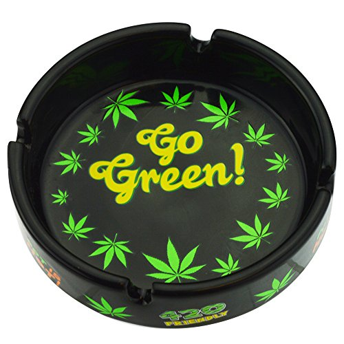 Rockin Gear Ashtray Weed Leaf Marijuana Go Green - Cigarette Marijuana Ashtray Weed Pot Hemp Cannabis Party - Pot Leaf Ashtray