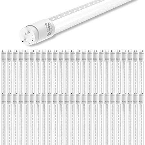 - Sunco Lighting 50 Pack 4FT T8 LED Tube, 18W=40W Fluorescent, Clear Cover, 5000K Daylight, Single Ended Power, Ballast Bypass, Commercial Grade - UL