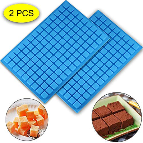 (2 PCS)126 Cavity Square Silicone Mold/Mini Candy Molds for Chocolate Gummy Ice Cube Jelly Truffles Pralines Caramels Ganache Random Color (11.53