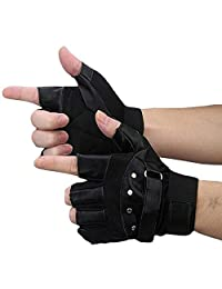 Gloves,NOMENI Men Soft Sheep Leather Driving Motorcycle Biker Fingerless Gloves