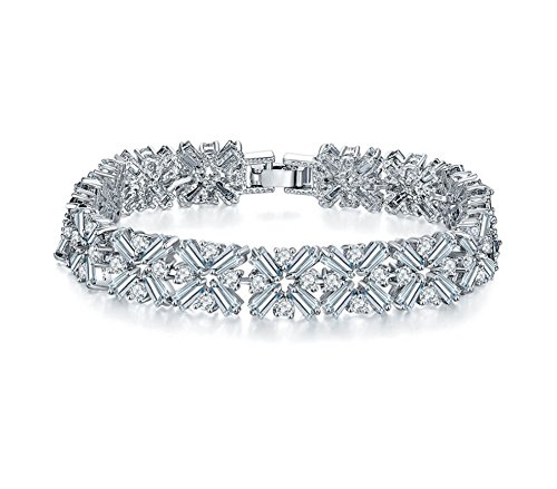 Baguette Bracelet White (Beautiful Silver Flower Bracelet 7.5 inch. Baguette/Round Cut White Cubic Zirconia CZ Stones. Bracelet for Women. Bridal/Wedding Jewelry. Guaranteed.)