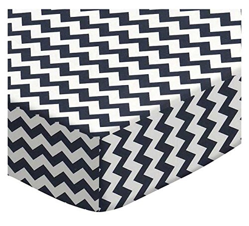 SheetWorld Fitted Cradle Sheet - Navy Chevron Zigzag - Made In USA